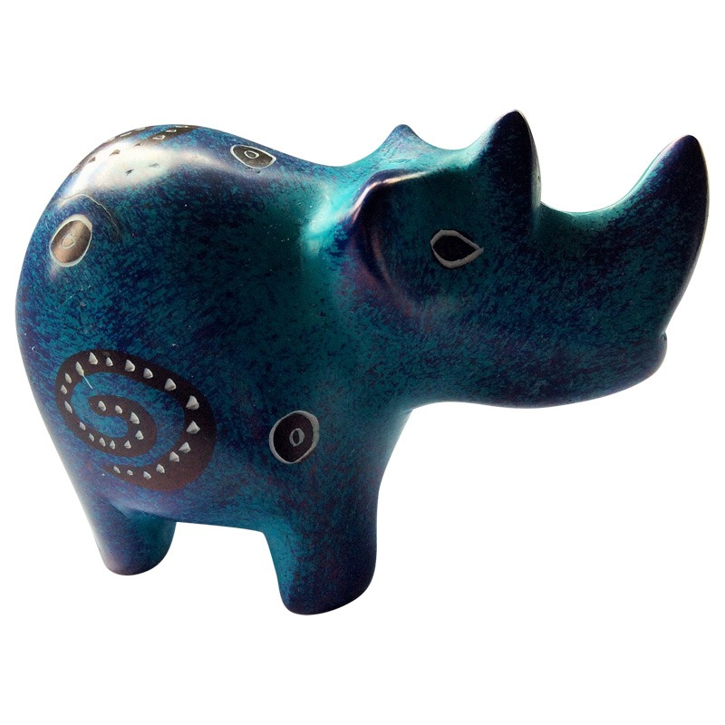 small painted soapstone rhino
