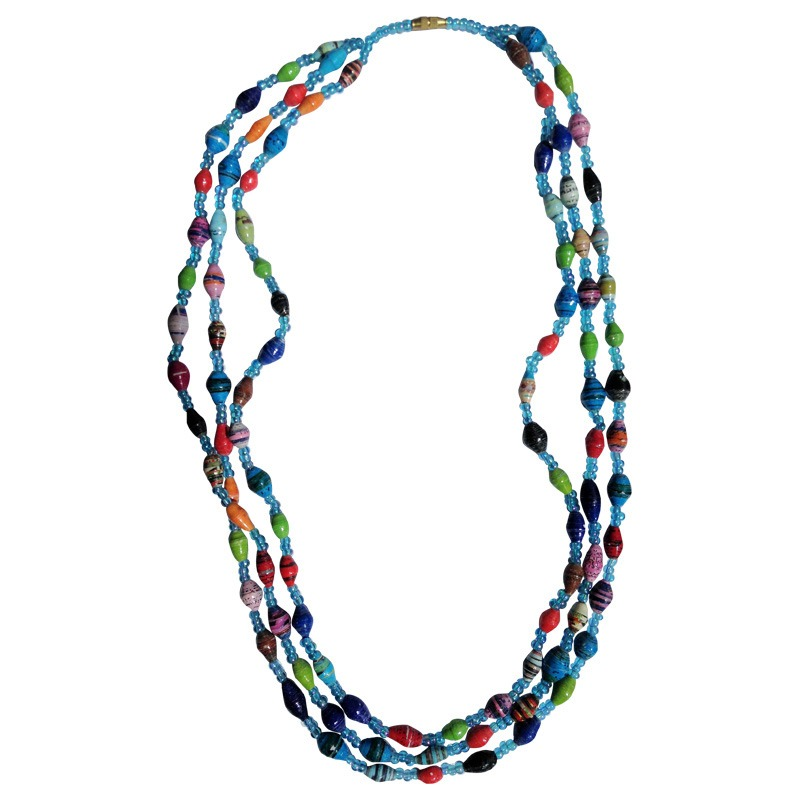 3 strand recycled paper necklace