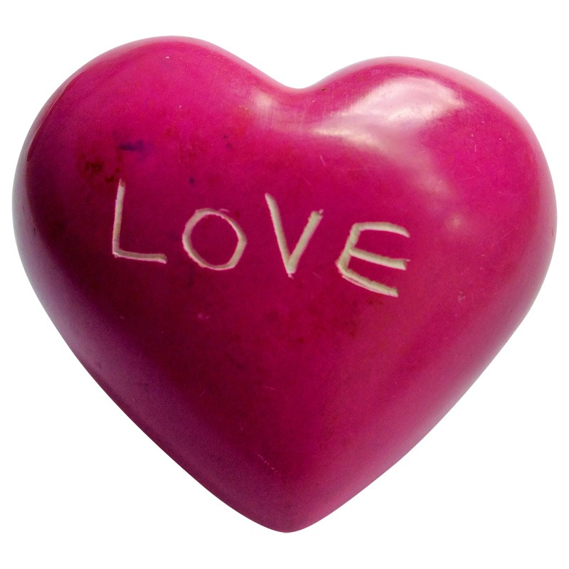 pink 'LOVE' soapstone heart