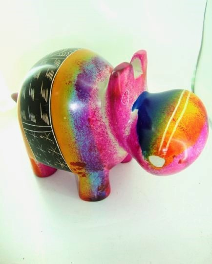 large painted soapstone hippo