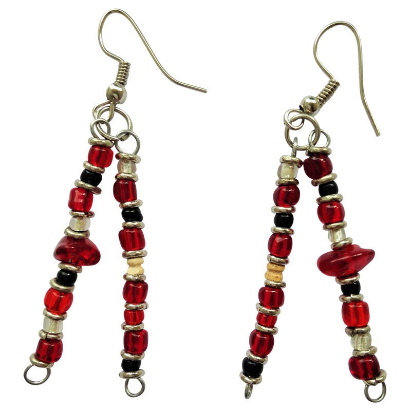 red beaded drop earrings