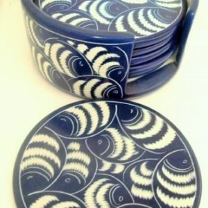 blue fish soapstone coasters
