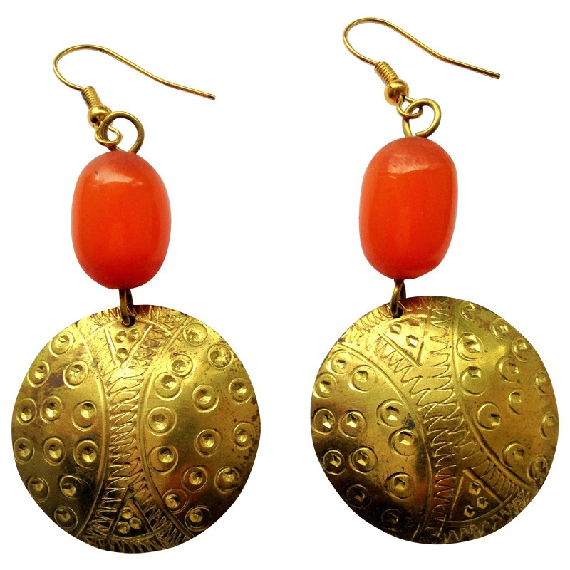 brass and amber earring