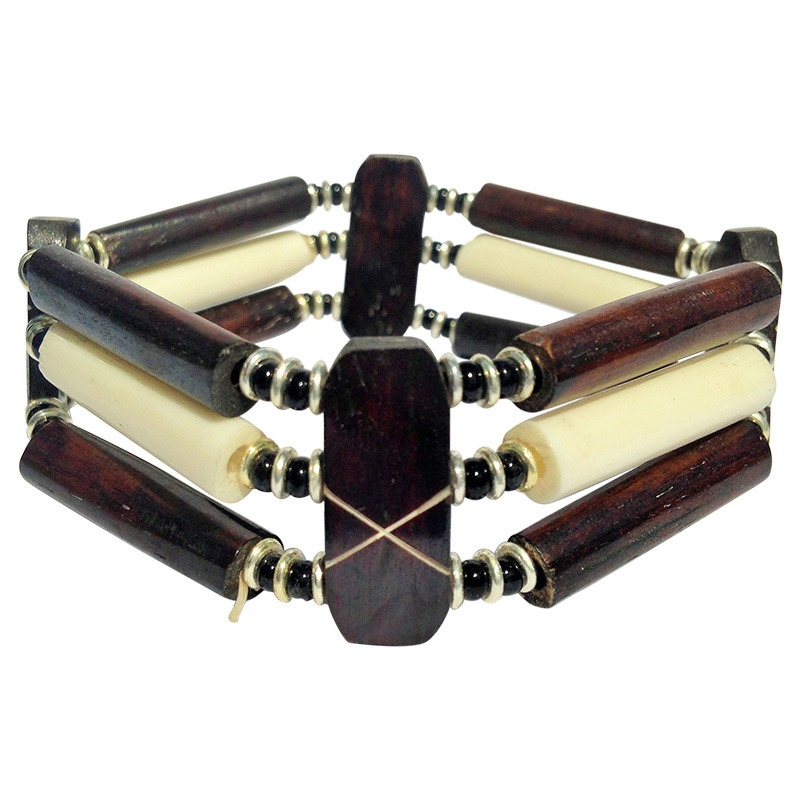 brown and white tube bracelet