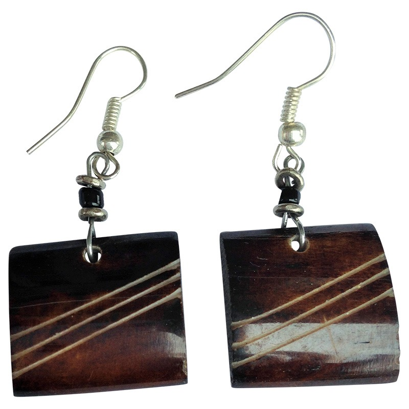 brown engraved square cow bone earrings