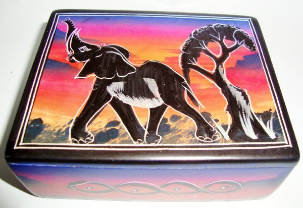 soapstone trinket box - elephant