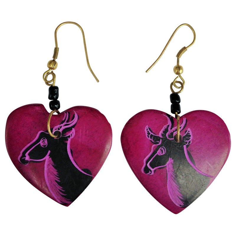 soapstone heart earring - pink assorted