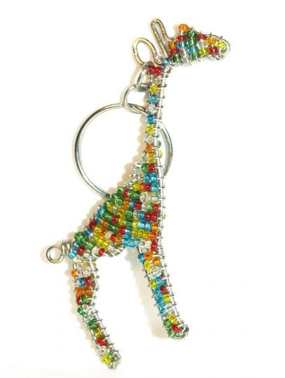 beaded giraffe keyring