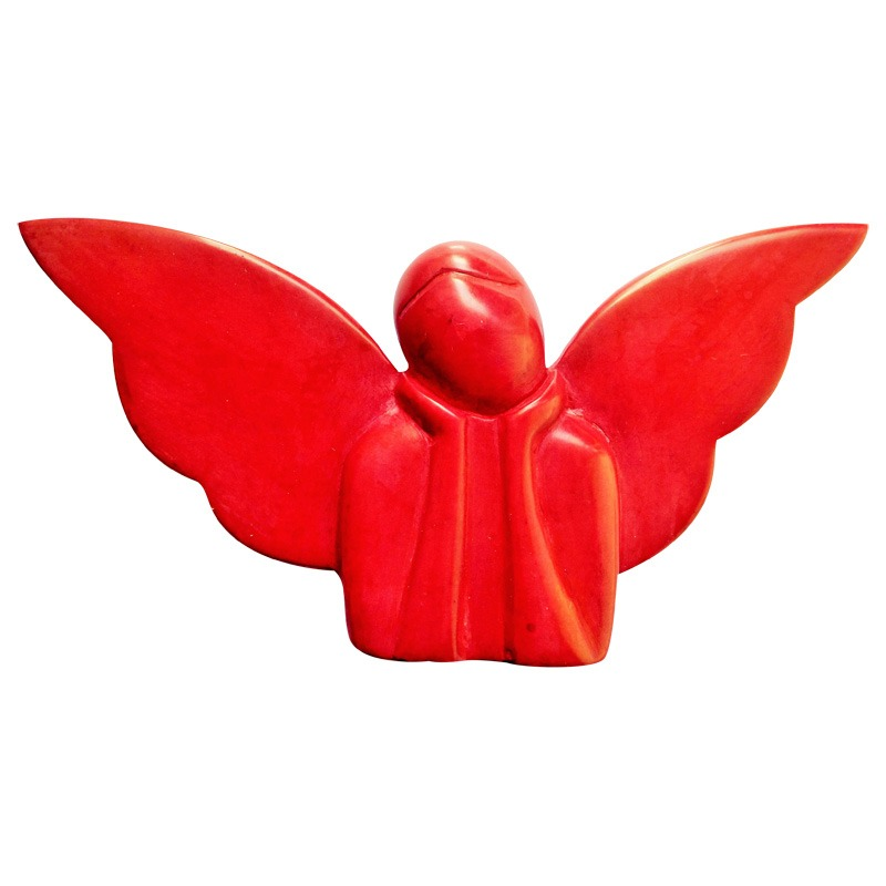 red thinking soapstone angel