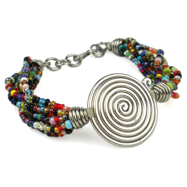 multi colour spiral beaded bracelet