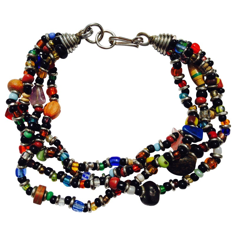 multi colour strand beaded bracelet