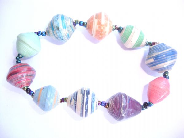 recycled paper single strand bracelet