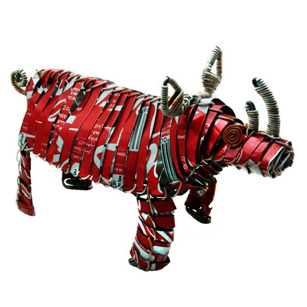 recycled tin rhino