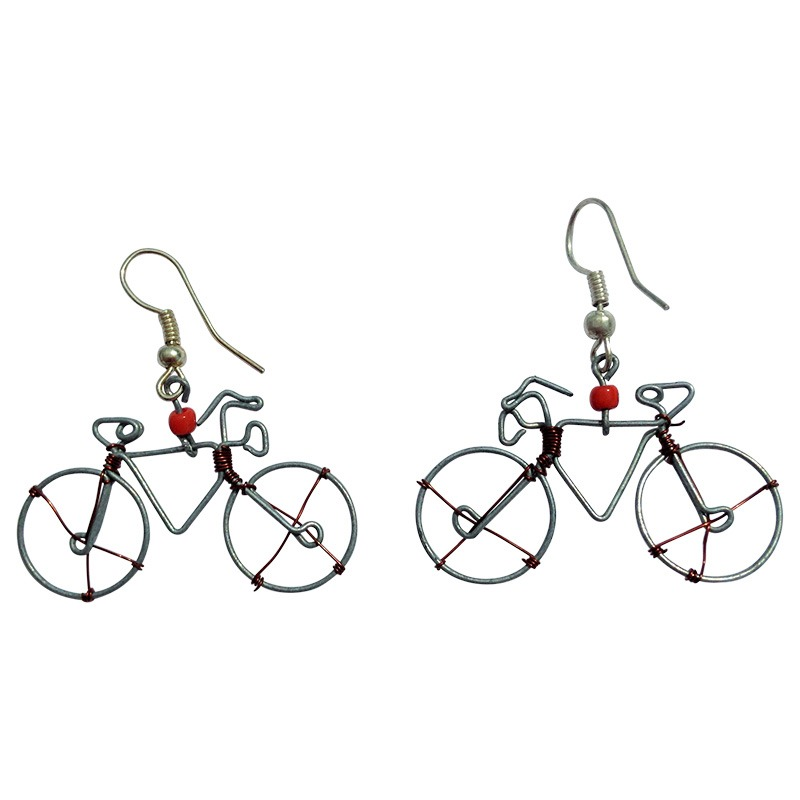 recycled wire bike earrings