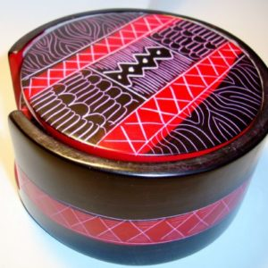 red engraved soapstone coasters