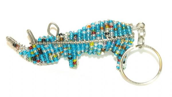 beaded rhino keyring