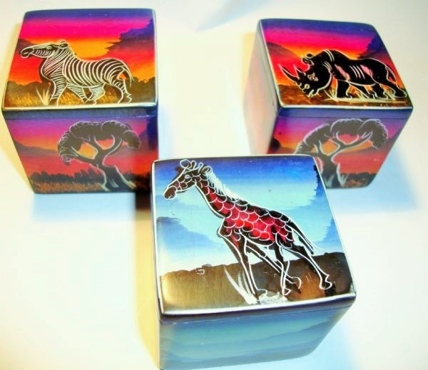 soapstone cube box - safari sunset