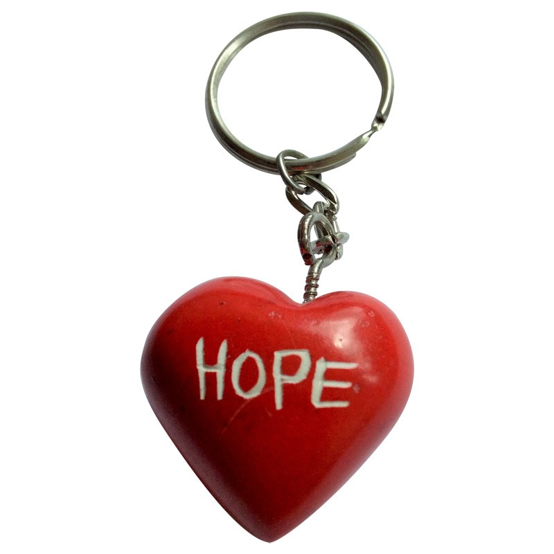 soapstone heart keyring - red 'HOPE'