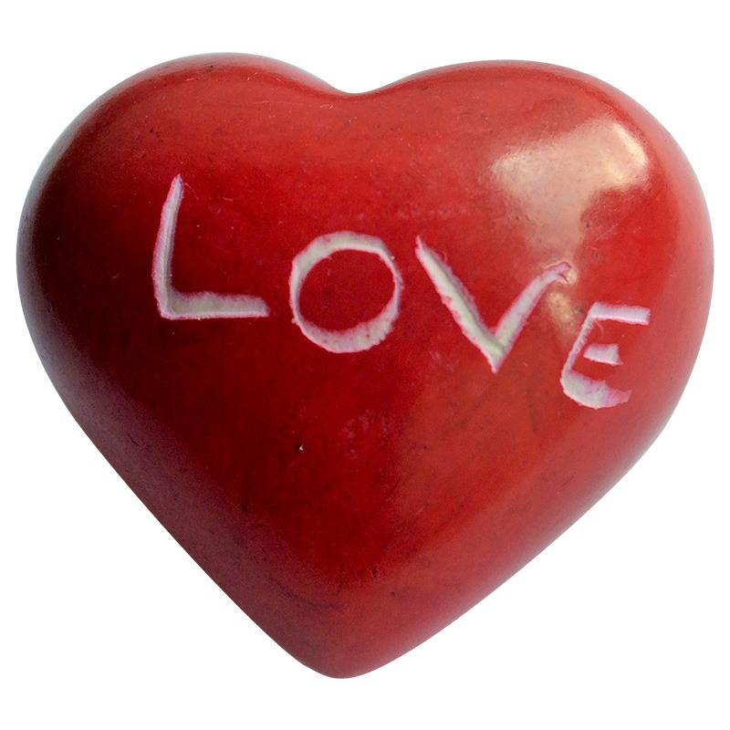 soapstone small heart - red 'LOVE'