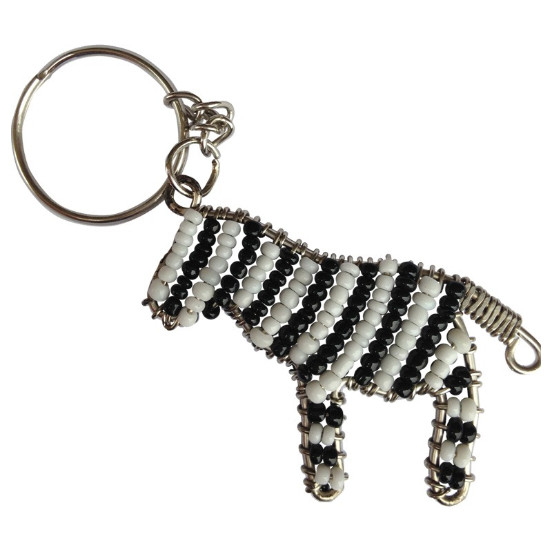 beaded zebra keyring